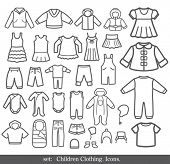 Set of Children clothing. Vector icons.