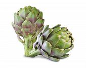 foto of bud  - Ripe green artichokes isolated on white background - JPG