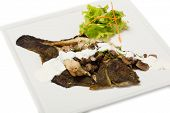 stock photo of flounder  - Flounder fried with mushrooms and cream sauce - JPG