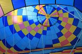 Inside of colorful hot air balloon