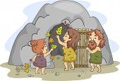stock photo of cave-dweller  - Illustration of a Caveman Family Decorating the Cave That Serves as Their Home - JPG