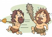 foto of caveman  - Illustration of a Male Caveman Carrying a Club Chasing Another Caveman Who Stole His Food - JPG