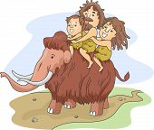 pic of cave-dweller  - Illustration of a Caveman Family Riding a Wooly Mammoth - JPG