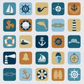 Nautical design elements - set of retro maritime illustrations