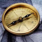 Close Up Of Antique Compass
