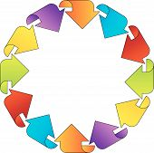 Circular design element with colorful arrows