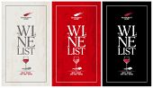 Wine list menu cards collection.