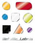 Collection of eight metallic peel-off labels in different shapes with shadows and sparkle on separate layers. Easily editable with global color swatches.