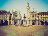 pic of turin  - Vintage looking Piazza San Carlo royal square in Turin  - JPG