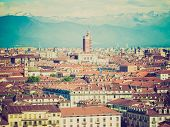 stock photo of torino  - Vintage looking View of the city of Turin Torino from the hill - JPG