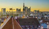 Skyline of Tallinn, Estonia at sunset.
