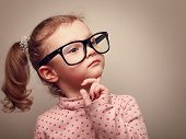image of little kids  - Thinking cute kid girl looking - JPG