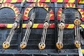 picture of pulley  - Pulley and ropes at Golden Hind tall ship - JPG