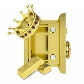 Gold crown, gold bullion and safe