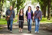 Full length of multiethnic university students walking on campus road