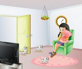 Illustration of a young girl inside the room with her pets