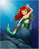 Illustration of a pretty mermaid trapped with the big rocks under the sea