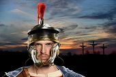 Roman Soldier with crosses in background