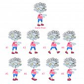 Animation of Zombie walking. Eight walking frames + 1 static pose. Vector cartoon isolated character/frames.