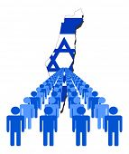 foto of israel people  - Lines of people with Israel map flag vector illustration - JPG