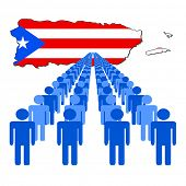 Lines of people with Puerto Rico map flag vector illustration