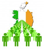 Lines of people with Ireland map flag vector illustration