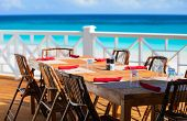Tables at seaside restaurant with beautiful view