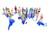 stock photo of time study  - Group of Children on World Map - JPG