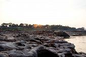 Sampanbok (3000 Hole), The Amazing of Rock in Mekong River, Ubon Ratchathani, Thailand.