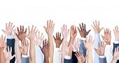 stock photo of debate  - Diversity of Business Hands Raised - JPG