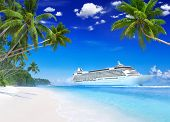 3D Cruise Ship by Tropical White Sand Beach