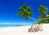 Couple Relaxing in Deck Chairs on Tropical Beach