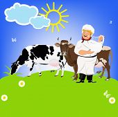 Happy Milkman and Dairy Cows on a green meadow.Sticker