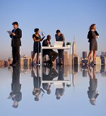 Outdoor Business Meeting on Rooftop of New York City