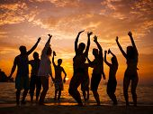 foto of break-dance  - Silhouette of People Dancing On Beach at Sunset - JPG