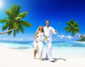Couple Getting Married On Tropical Beach