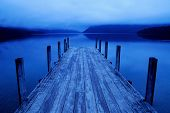 Tranquil Peaceful Lake With Pier, New Zealand