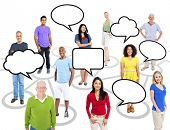 Group of Multi-ethnic People Connected with Speech Bubbles