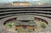 Hakka Roundhouse tulou walled village located in Fujian, China