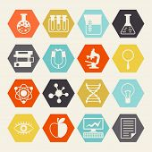 foto of proton  - Science icons in flat design style - JPG