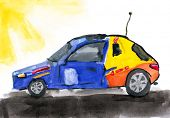 RC toy car. child's drawing on paper.