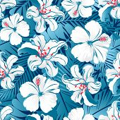 image of hawaiian flower  - White tropical hibiscus flowers seamless pattern on a blue background - JPG