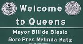 Welcome to Queens sign near near Belt Parkway in Queens, New York