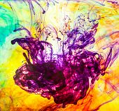 inks in water, colorful abstraction