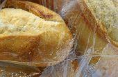 Close Up Of Bread Under Plastic Film