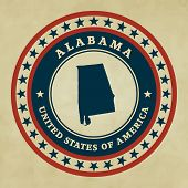 stock photo of alabama  - Vintage label with map of Alabama vector - JPG