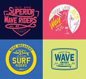 Vector set of travel beach surf emblems and symbols