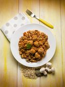 foto of sauteed  - meatballs with sauteed mushroom - JPG