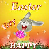 Happy Rabbit and Easter Egg