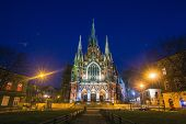 KRAKOW, POLAND - MAR 26, 2014: Church Joseph on night time - a historic Roman Catholic church in sou